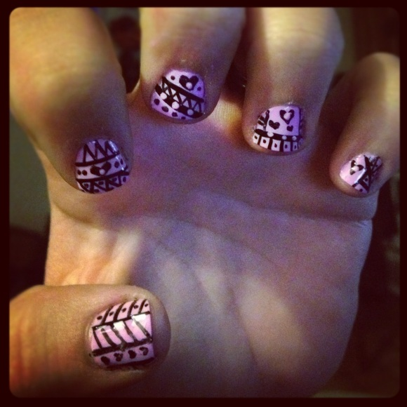 Pink and Black Heart Tribal Nail Design