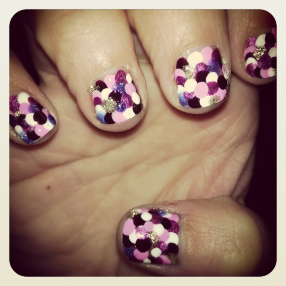 Purple Dots Nail Design