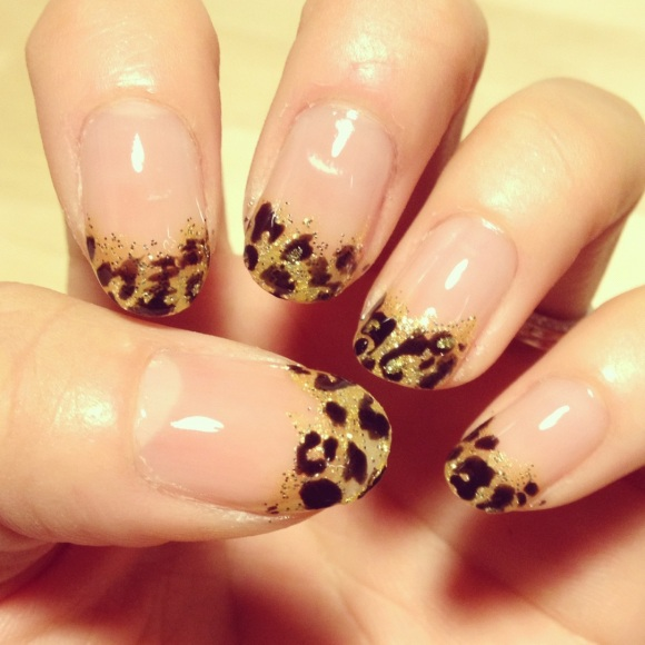 Gold Glitter and Black Leopard Tips